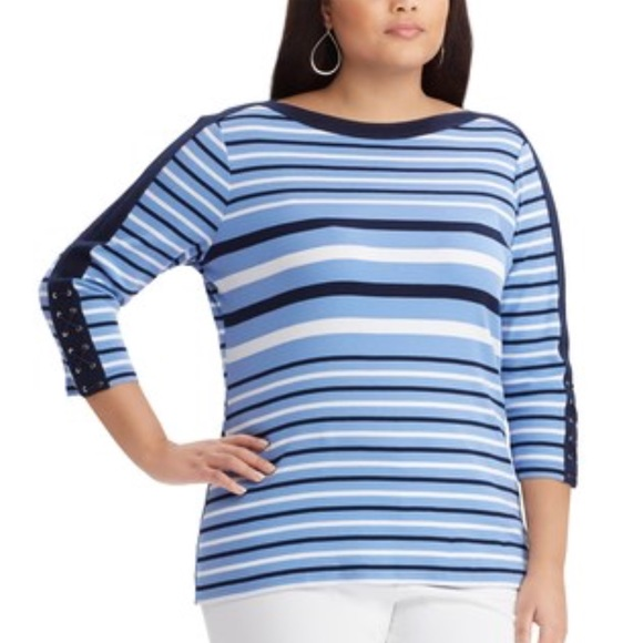 PLUS SIZE LACE UP SLEEVES AND BOATNECK TOP K2. NWT. Chaps fd6202924